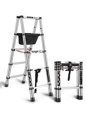 1.7+1.7M Trestle Ladder Multi-function Household Ladder Folding Telescopic Ladder Thickened Engineering Ladder Aluminum Alloy