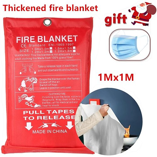 1M x 1M fireproof blanket, glass fiber fireproof and flame retardant emergency survival shelter, fireproof emergency blanket