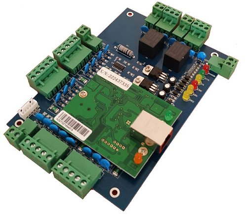 TCP/IP two door access control board  can connect to two way wiegand 26/34 reader and two exit button,T02