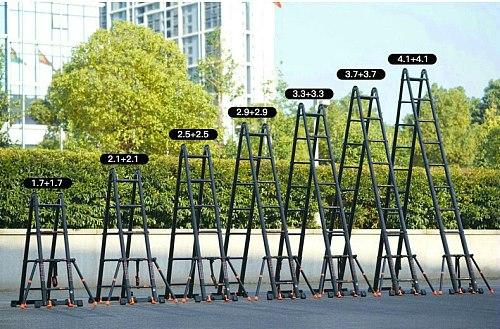 4.1*4.1m aluminum alloy multifunctional foldable telescopic herringbone/I-type ladder/straight ladder to strengthen anti-tilting
