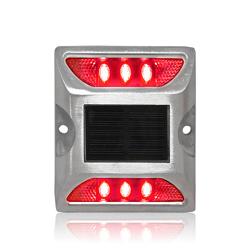 Steady mody IP68 road safety square design red warning light solar power LED road stud marker