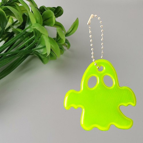 MEILITE 500 candle Halloween ghost reflector Reflective keychains   Pentagram Warning bag pendant  key ings For traffic safety
