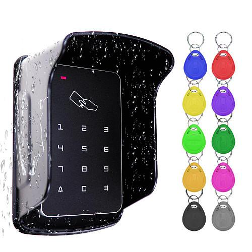 RFID Access Control Standalone Controller Keypad Keyboard System Waterproof Rainproof Cover Outdoor Door Lock Opener Card Reader