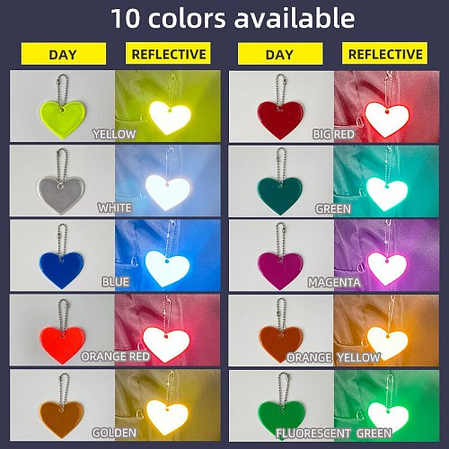 MEILITE 500 Candle Lights Love Heart Pendant Charm Bag Accessories Reflective  Keychains Keyings For Traffic Safety Use