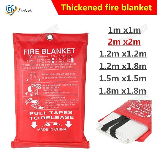 2M x 2M Fire Blanket Fiberglass Fire Flame Retardant Emergency Survival Fire Shelter Safety Cover Fire Emergency Blanket