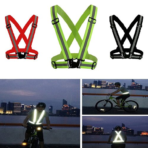 Reflective Vest High Visibility Unisex Outdoor Running Cycling Safety Vest Adjustable Elastic Strap Fluorescence Work Wholesale