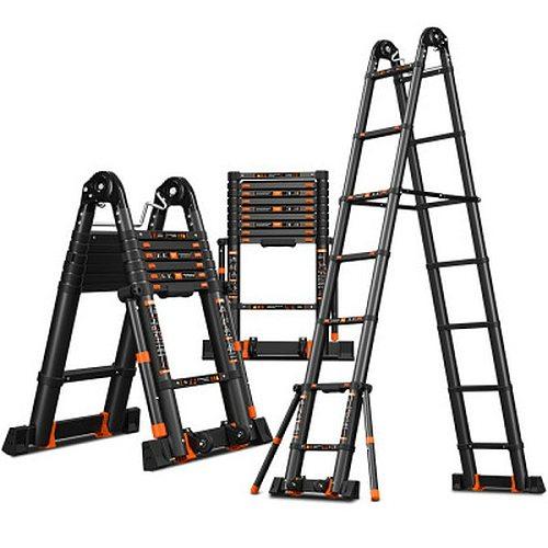 2.5*2.5m aluminum alloy multifunctional foldable telescopic herringbone/I-type ladder/straight ladder to strengthen anti-tilting