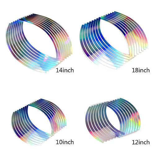 16Pcs Cool Style New PVC Reflective Car Sticker 10/12/14/18 inch Laser Wheel Rim Luminous Tape for motorcycle Car Stickers