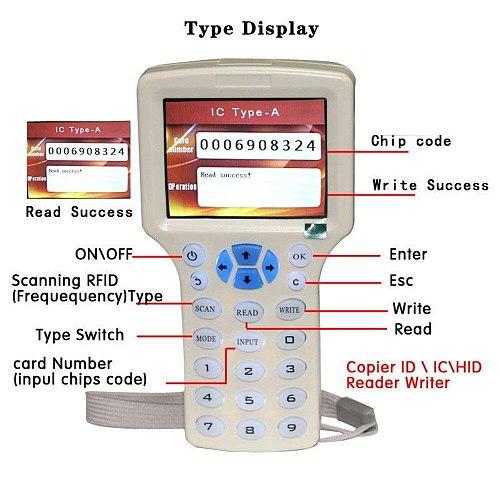 New Handheld RFID Copier 13.56Mhz NFC Smart Chip Card Reader CUID/FUID Tag Encryption Cracking Writer 125Khz Badge Duplicator