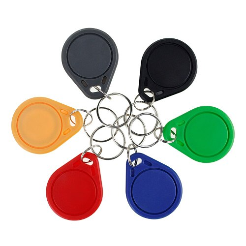 100pcs RFID keyfobs 13.56 MHz keychains NFC tags ISO14443A MF Classic® 1k nfc access control token smart keycard six colors