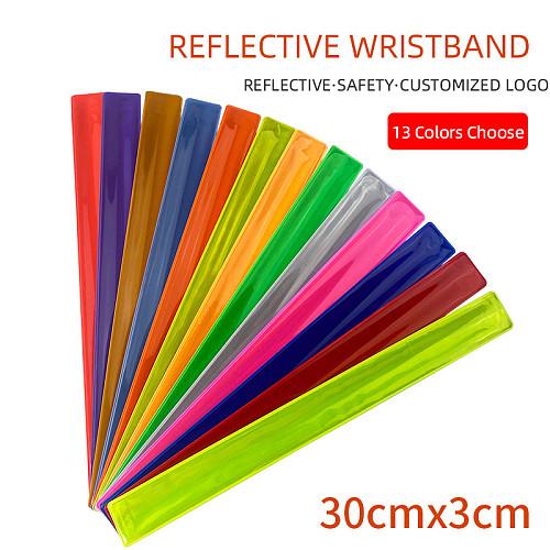 30cm Reflective slap band Reflective pvc wristband slap band bracelet for running bicycle riding road safety visibility