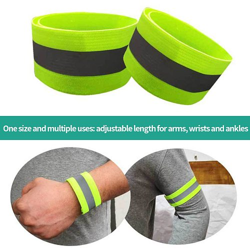 2Pc Reflective Bands Elastic Armband Wristband Ankle Leg Straps Safety Reflector Tape Straps For Night Running Riding Bracelet