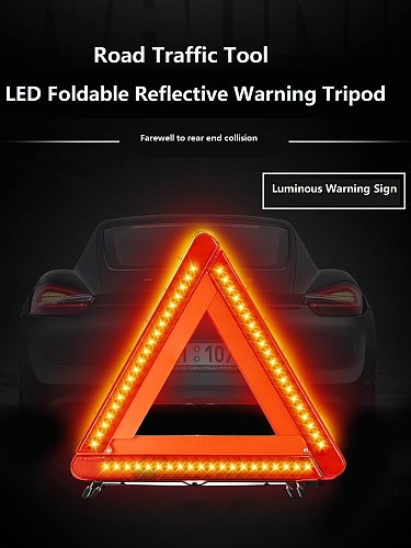 LED Foldable Car Reflective Triangle Warning Sign Road Traffic Tool Farewell To Rear End Collision