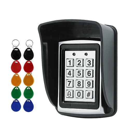 RFID Metal Access Control EM Card Reader Keypad with 10 EM4100 keyfobs waterproof protecter cover For Door Access Control System