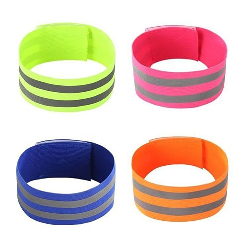 Reflective Armband Elasticated Armband Wristband Ankle Leg Strap Safety Reflector Tape Straps for Night Sports Walking Biking