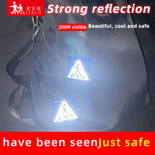 Sidewalk keyrings  Reflective keychain Bag pendant accessories for traffic visiblity safety use walk after schoolHoliday gift