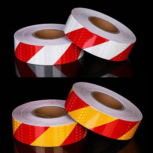 5cm X 25m/Roll Reflective Tape Stickers Car Styling Self-adhesive Tape PET Engineering Grade Barrier Trailer Tape
