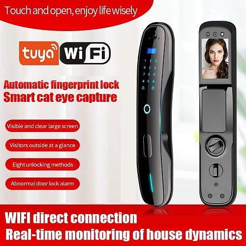 TUYA door lock password lock automatic fingerprint lock household aluminum alloy remote intelligent lock electronic appdoor lock