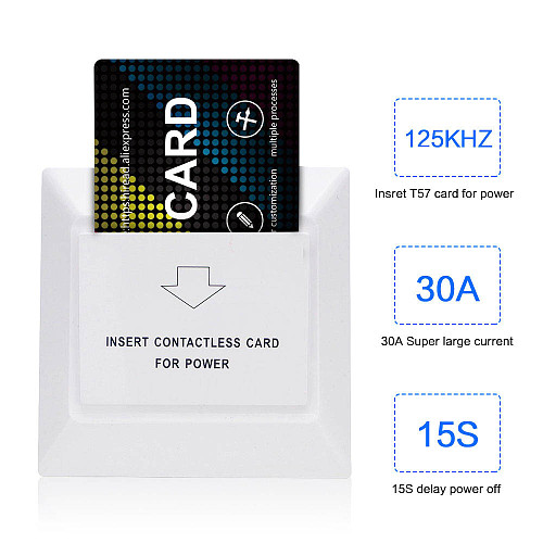 hiread Wall Access Control Energy Saving With 125KHz ID Card Like TK4100/T5577/EM4305 for Hotel Room electronic induction switch