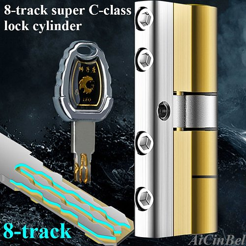 Security door Lock Brass Cylinder  Anti Pry Stainless Steel Anti-collision beam 8 Snake Groove Cylinder Color 10 Keys Super C
