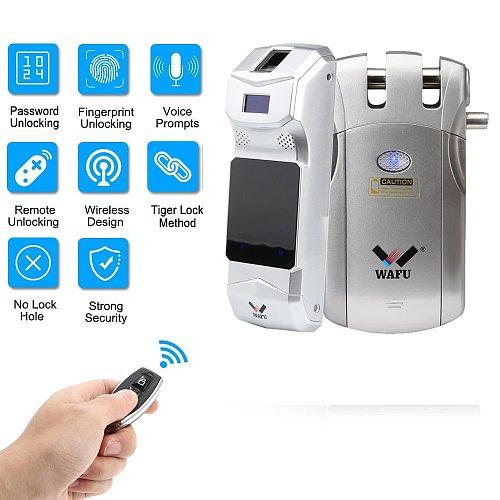 019 Fringerprint Lock Tuya Smart Life Wifi Door lock Password Door Locks Bluetooth Remote Control Invisible Smart Lock