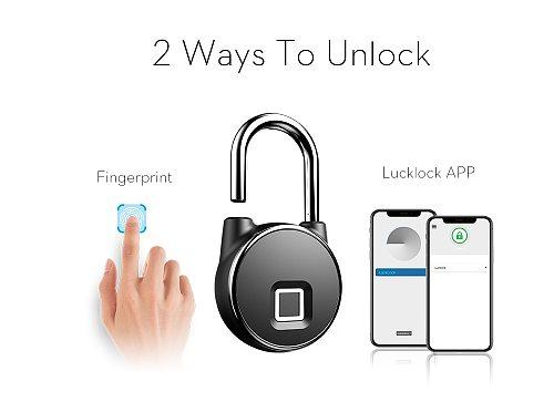 bluetooth Rechargeable Smart Lock Keyless Fingerprint Lock IP66 Waterproof Anti-Theft Security Padlock Door Luggage Lock
