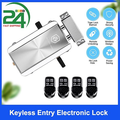 Home Door Lock Kit Remote Control Keyless Entry Electronic Lock Smart Wireless Anti-theft Deadbolt Access Control System
