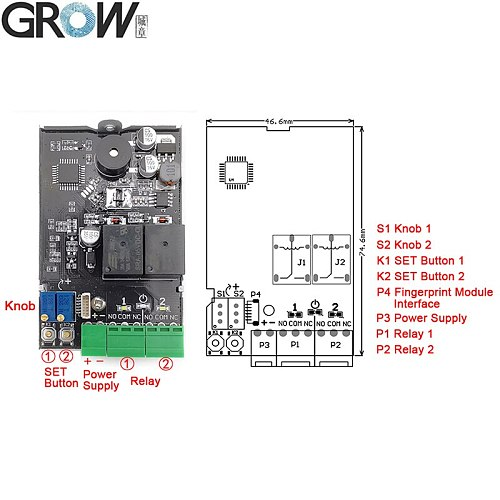 GROW K220+R503 DC10-24V Two Relay Output With Administrator/User Fingerprint Access Control Board 0.5s-60s-Normally Open Relay