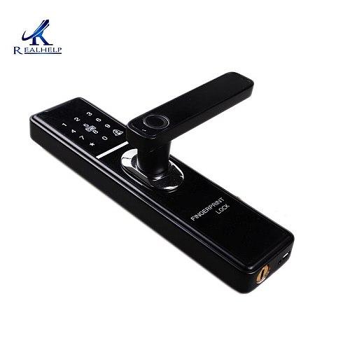 Fingerprint Door Handle Lock Single Chip Control Remote Control Gate Door Lock Aluminum Finger Identification AAA Batteries