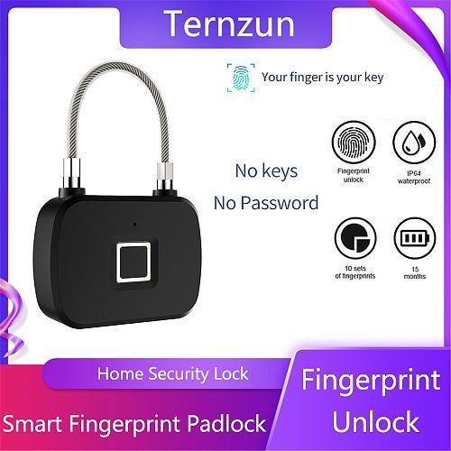 Smart Fingerprint Lock 0.5s Quick Fingerprint Recognition Unlock Anti-theft Security Keyless Padlock For Door Luggage Case