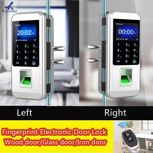 fingerprint lock Office glass door single/double door password lock card remote sensing remote control electronic access control