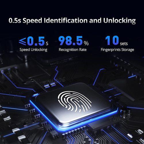 Towode 2/4/10Pcs Steel Fingerprint Unlock Bicycle Lock Padlock Door Bike USB Drawer Quick Control Waterproof Password Padlock