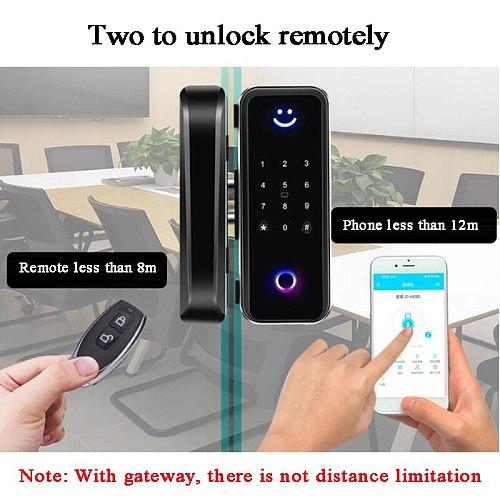 Glass Door Lock Bluetooth Wifi Gateway TTLock Fingerprint Password Electric Digital lock Alexa Google Wooden Smart door lock