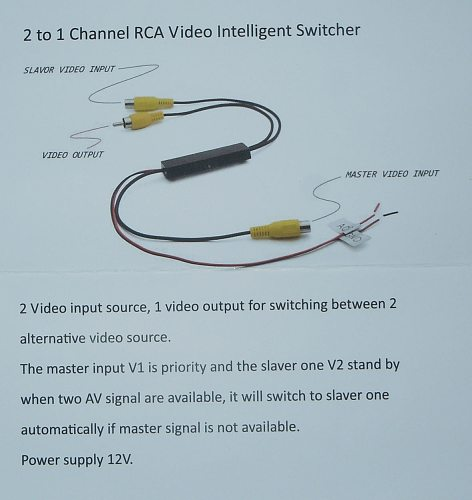 Car Video Two in One Out Conversion Line Camera Reversing Image Driving Recorder AV Video Switching Line