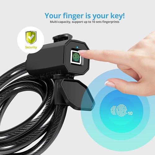 Stainless Steel Fingerprint Lock Waterproof Anti-thief Smart Security Fingerprint Integrated Lock For Mountain Bike Door