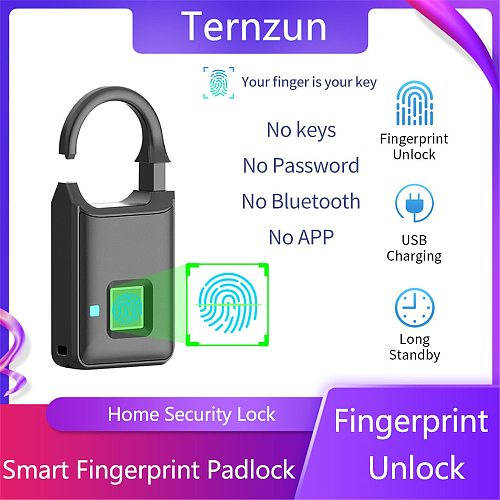 Smart Fingerprint Lock Biometrics Technology Multipurpose Padlock Fingerprint Unlock Anti-Theft Security Keyless Electronic Lock