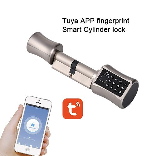 Bluetooth Cylinder  TUYA App Password Fingeprint Smart Door Lock Digital Keypad Code Keyless Electric Lock  Airbnb