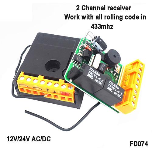 819PCS 433Mhz Universal DC 12V 2CH relay Receiver Module Open code Rolling code RF Garage door Remote Controller