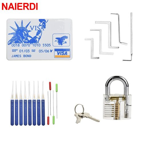 NAIERDI Locksmith Tools Lock Pick Set Broken Key Extractor with Transparent Locks Practice Combination Padlock For Training