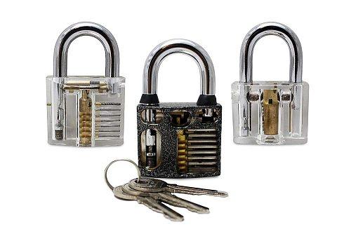 Professional Practice Padlocks Metal Cutaway Lock +Transparent Padlock + Disc Detainer Lock for Locksmith Skill training