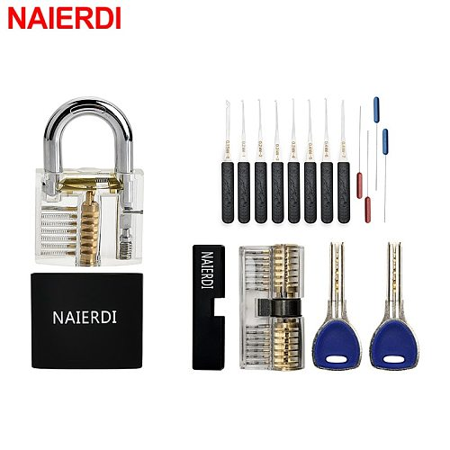 Transparent Visible Practice Lock Padlock Kit Locksmith Hand Tool Pick Sets With Broken Key Extractor Wrench Tool