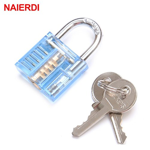 Mini Transparent Visible Pick Cutaway Practice Padlock Lock With Broken Key Remove Hook Extractor Locksmith Wrench Tool