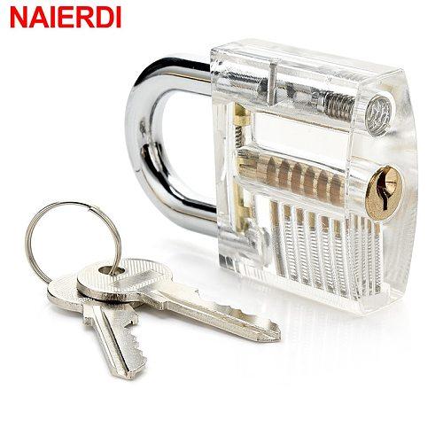 7PCS/Set Combination Practice Padlock Transparent Locks Locksmith Training Tools Visible Lock Pick Sets Practicing Skill