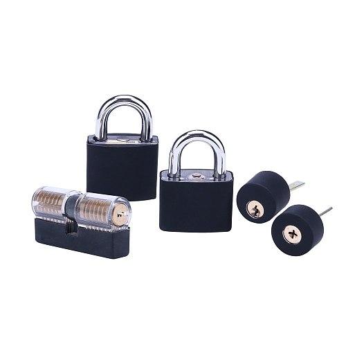 5pcs Transparent Lock Combination with Black Cover ,Locksmith Transparent Lock Pick Tool for Training