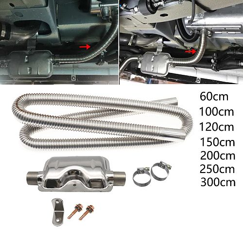 60-300cm Stainless Exhaust Muffler Silencer Clamps Bracket Gas Vent Hose Pipe Silence Kit For Car Air Diesels Heater