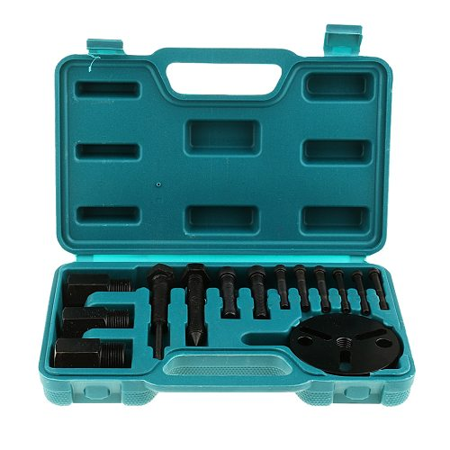 14 Pieces Car Air Conditioning Compressor Clutch A/C Puller Remover Tool Kit A/C Compressor Clutch Remover Installer Puller Too