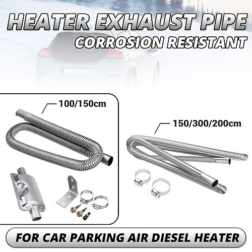 60-300cm Air Parking Heater Exhaust Pipe with Clamps Heater Ducting Fuel Tank Exhaust Pipe Hose Tube For Diesel Heater