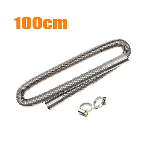 60-300cm Car Auto Air Parking Heater Exhaust Pipe w/ 2 Clamps Fuel Tank Exhaust Pipe Hose Tube Stainless Steel For Diesel Heater