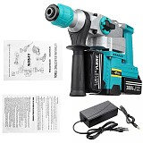 3 in 1 388VF Rechargeable Brushless Cordless Rotary Hammer Drill Electric Hammer Impact Drill Electric Pick with 2pcs Battery