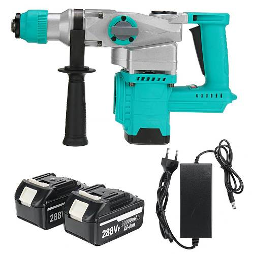 Brushless Electric Rotary Hammer Rechargeable Multifunction Electric Hammer Impact Power Drill Tool with 2 Battery & Charger